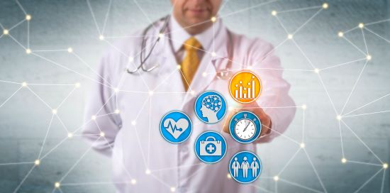 Unrecognizable doctor activating predictive analytics in network with medical icons to represent disability management.