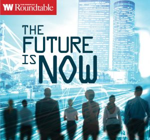 Front cover of the September October issue of Your Workplace. It depicts a futuristic urban business district with sillouettes of men and women looking at high rise business towers.