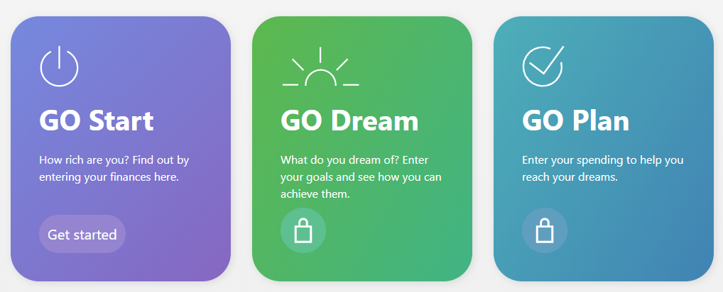 this image shows the three streams of activity to complete the Guided Outcomes journey. The first purple block says GO start, how rich are you? The green block says GO Dream, what do you dream of? the last blue block, GO plan says enter your spending to help you reach your dreams.