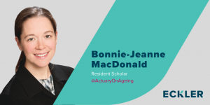Image of Bonnie-Jeanne MacDonald, Eckler's Resident Scholar. The graphic includes the Eckler logo and Dr. MacDonald's twitter handle at Actuary on Aging