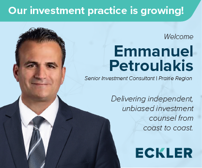 """Graphic featuring a headshot of Emmanuel Petroulakis, Senior Investment Consultant, Prairie region. Text is """"Our Investment Practice is Growing! Welcome Emmanual Petroulakis. Delivering independent unbiased investment counsel from coast to coast."""""""""""